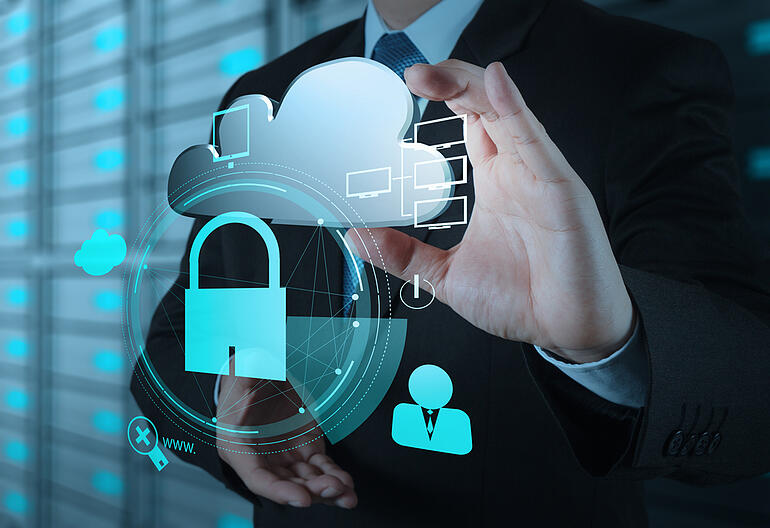 businessman hand show 3d cloud icon with padlock as Internet security online business concept-1